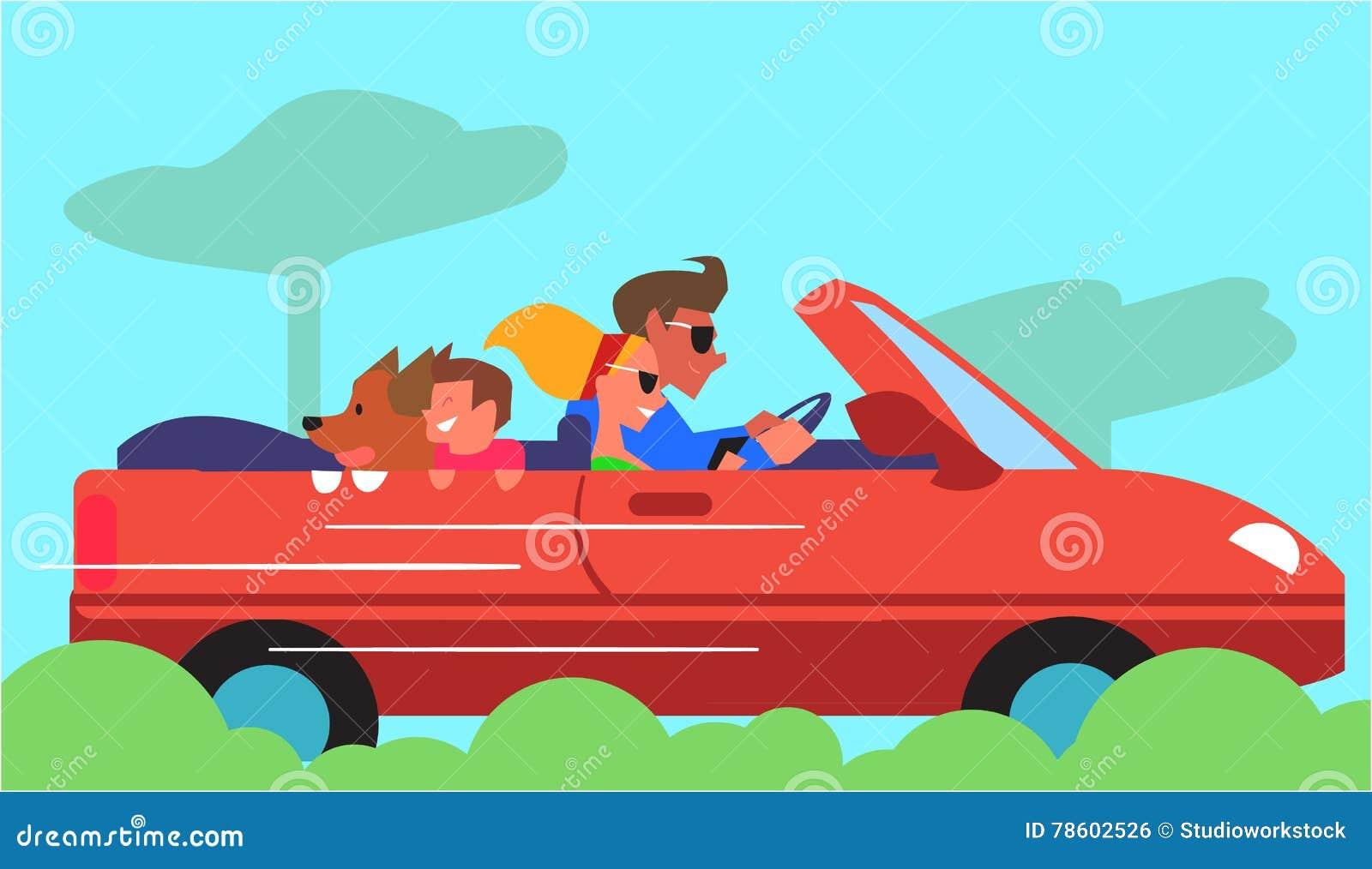Family Car Traveling Flat Design Vector Concept