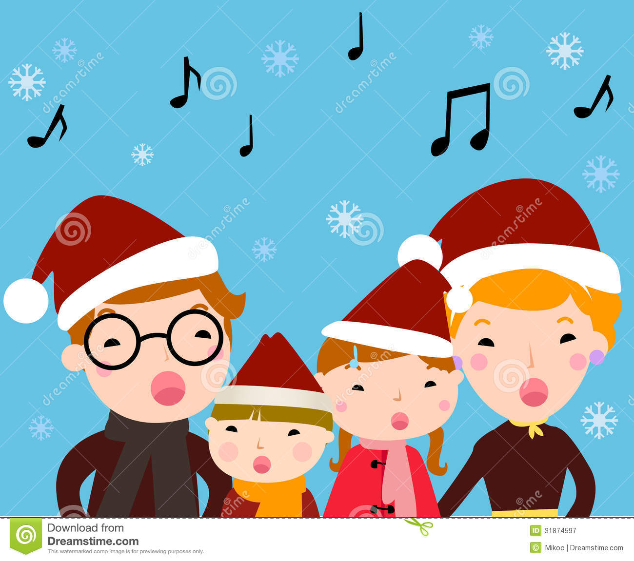 Christmas Caroling Family Set Of 4: Family Carolers Stock Vector. Illustration Of Group
