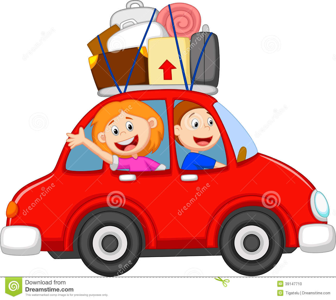 Family Cartoon Traveling With Car Stock Vector - Image: 39147710