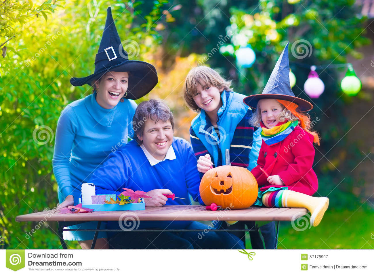 Family Carving Pumpkin At Halloween Stock Image - Image of ...