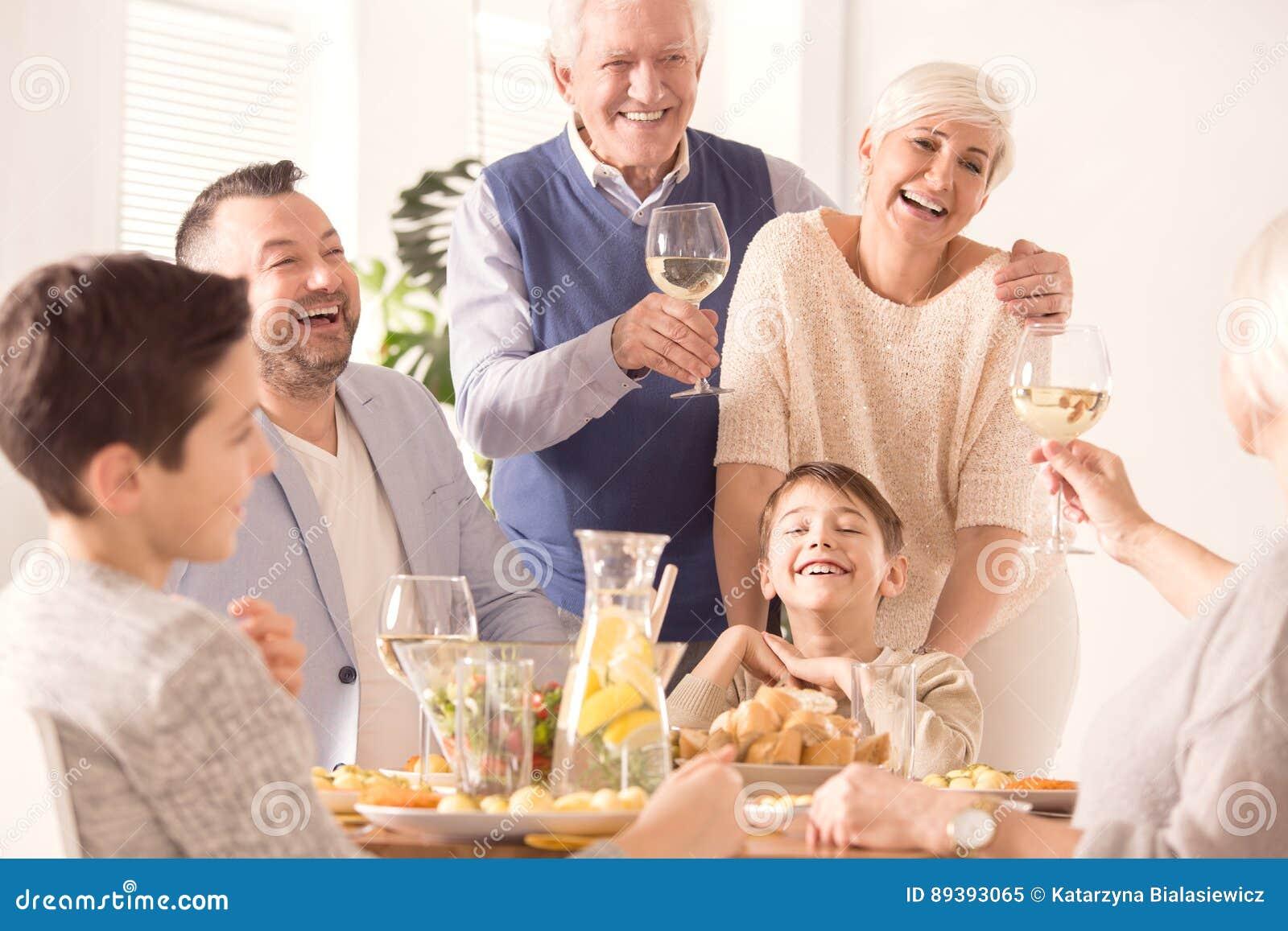 Family celebrating anniversary