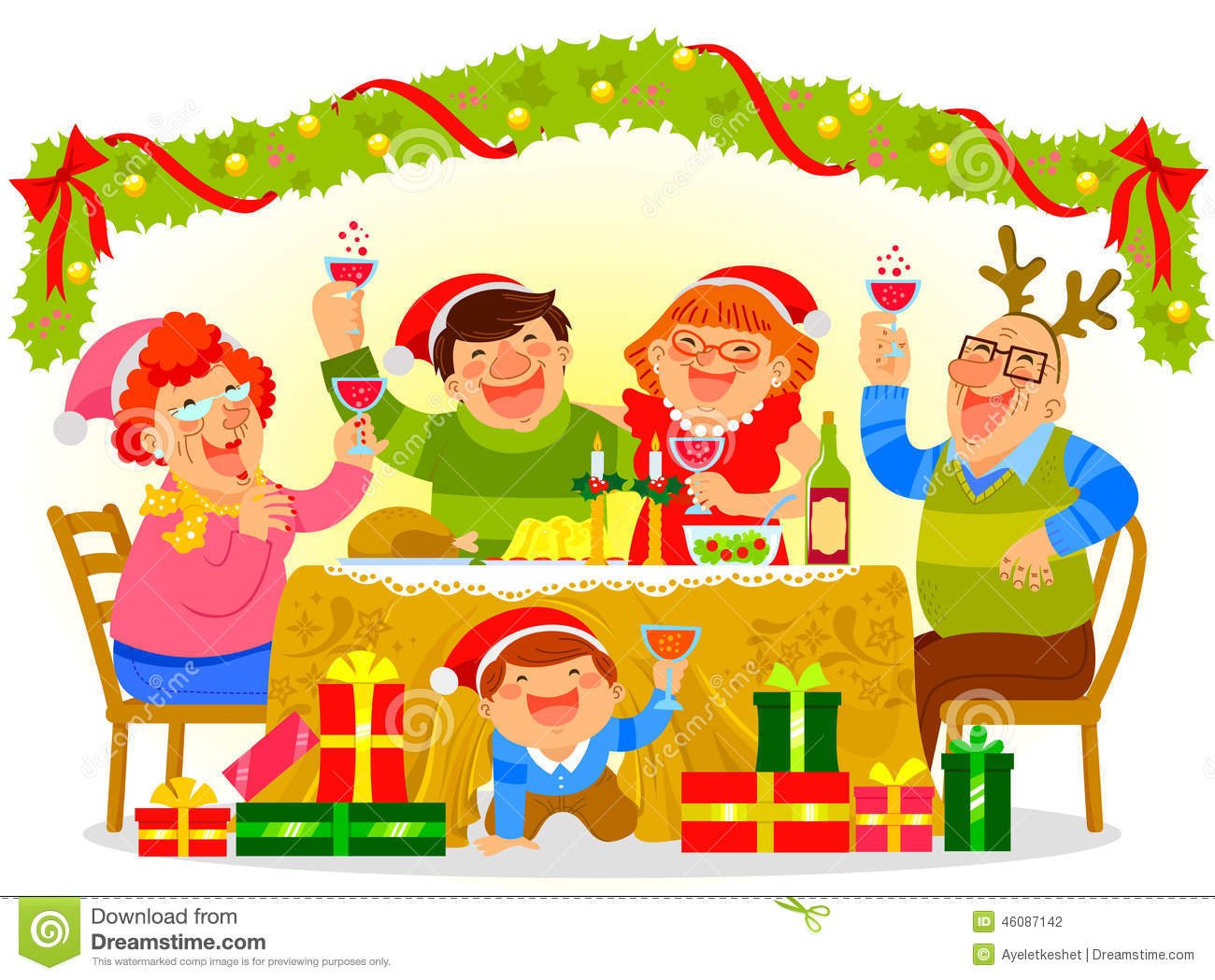 Family Celebrating Christmas Stock Vector - Illustration ...