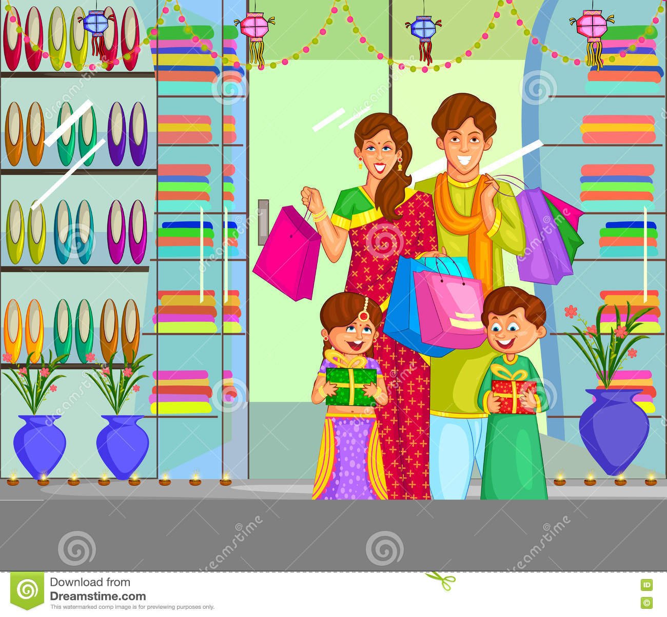 Family Celebrating Diwali Festival Of India Stock Vector ... for Deepavali Celebration Clipart  113cpg