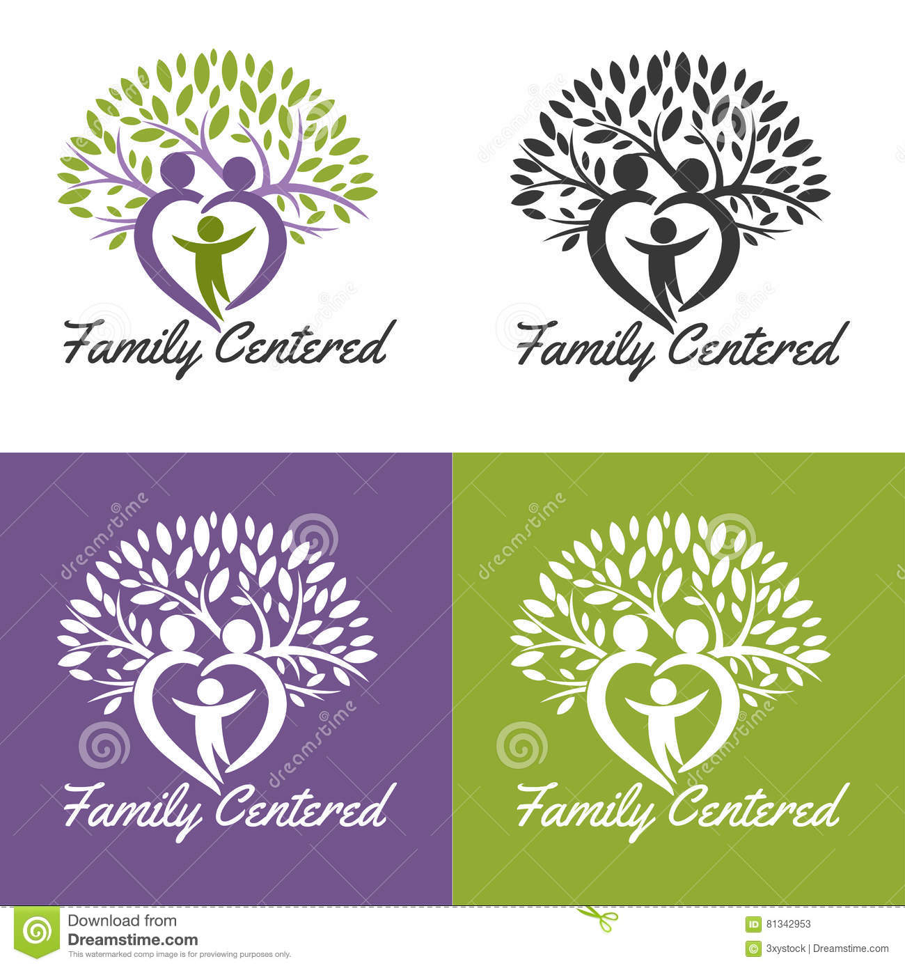 family centered stock vector illustration of health
