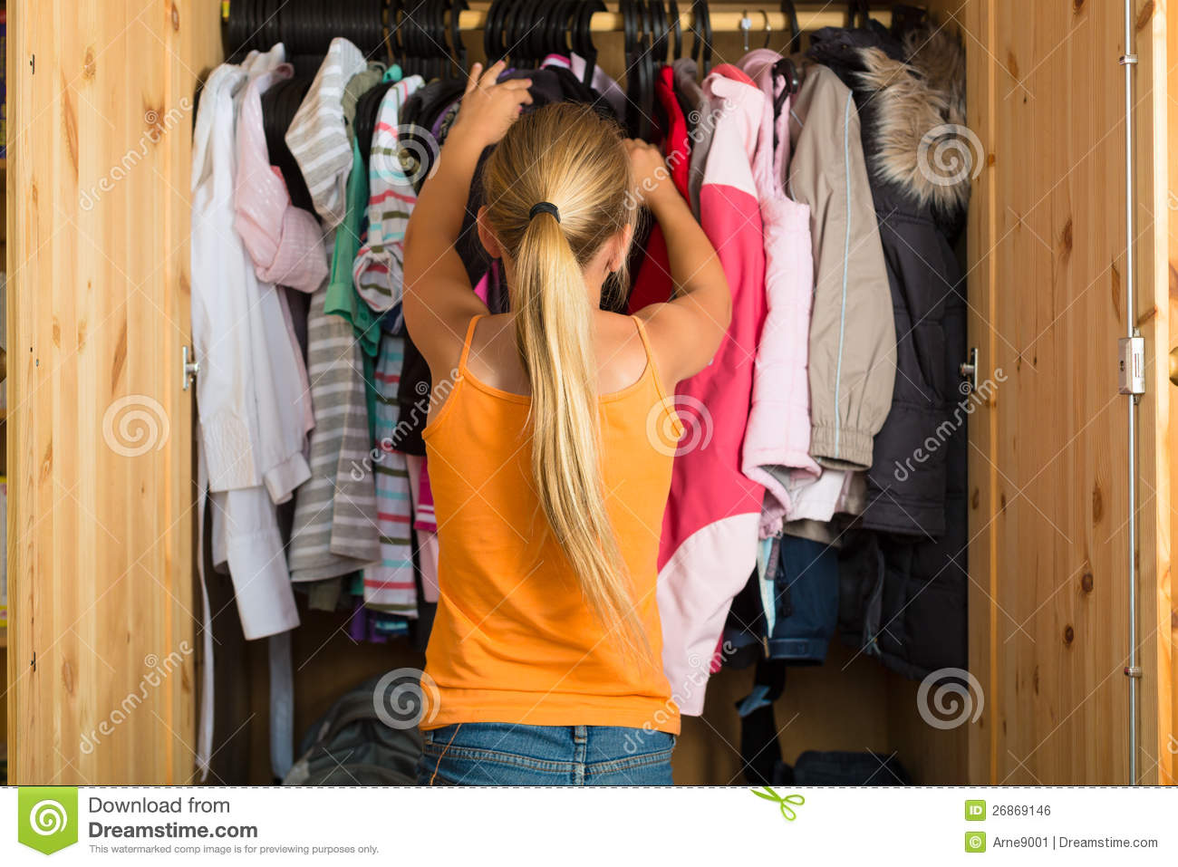 Download Family   Child In Front Of Her Closet Or Wardrobe Stock Photo    Image Of