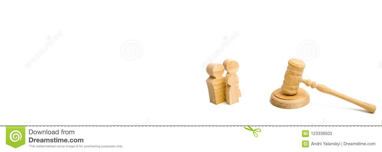Family with child and hammer judge on white background. The concept of litigation and paractics in business affairs. Social rights
