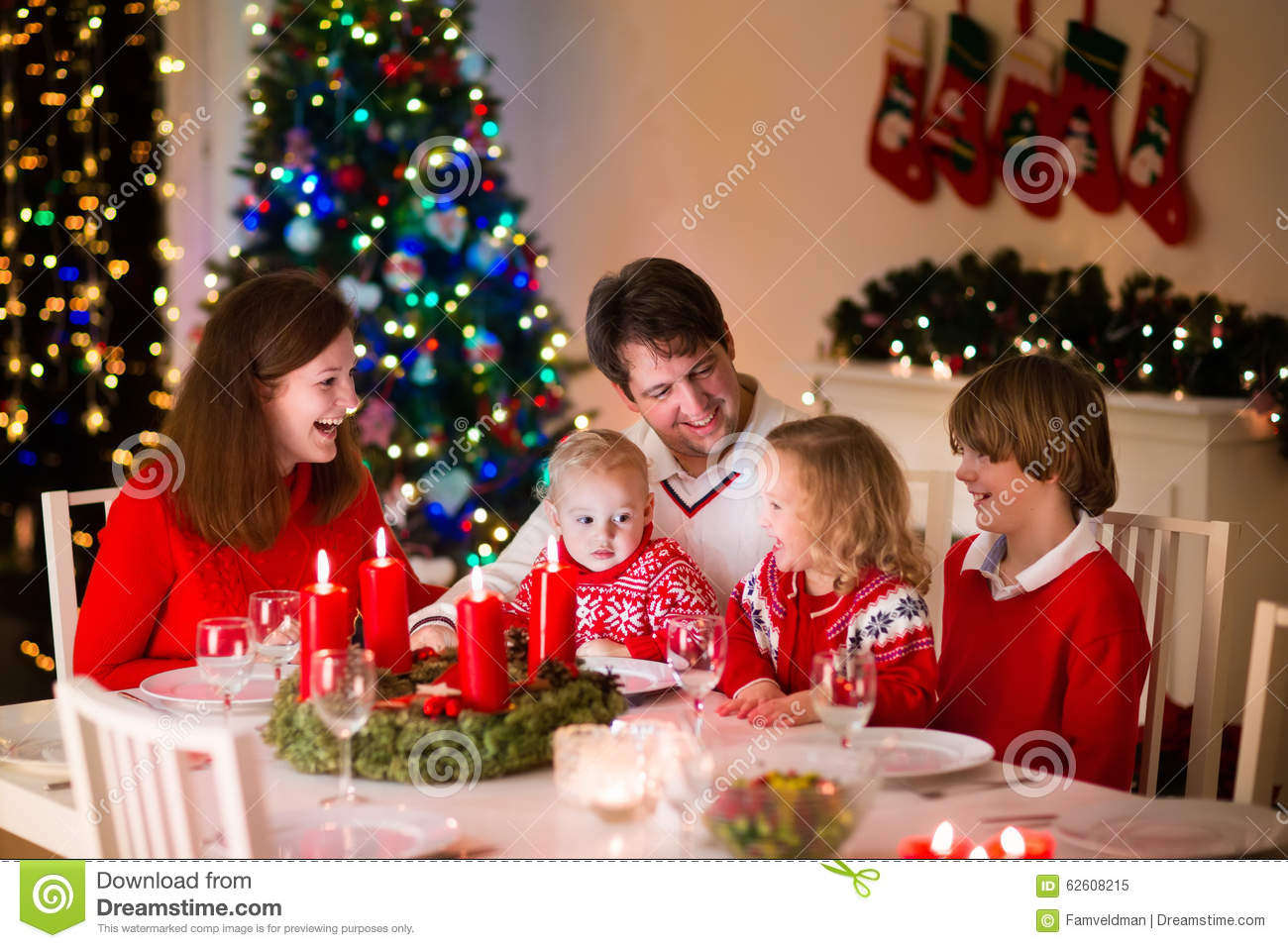 Family With Children At Christmas Dinner At Home Stock Image - Image ...
