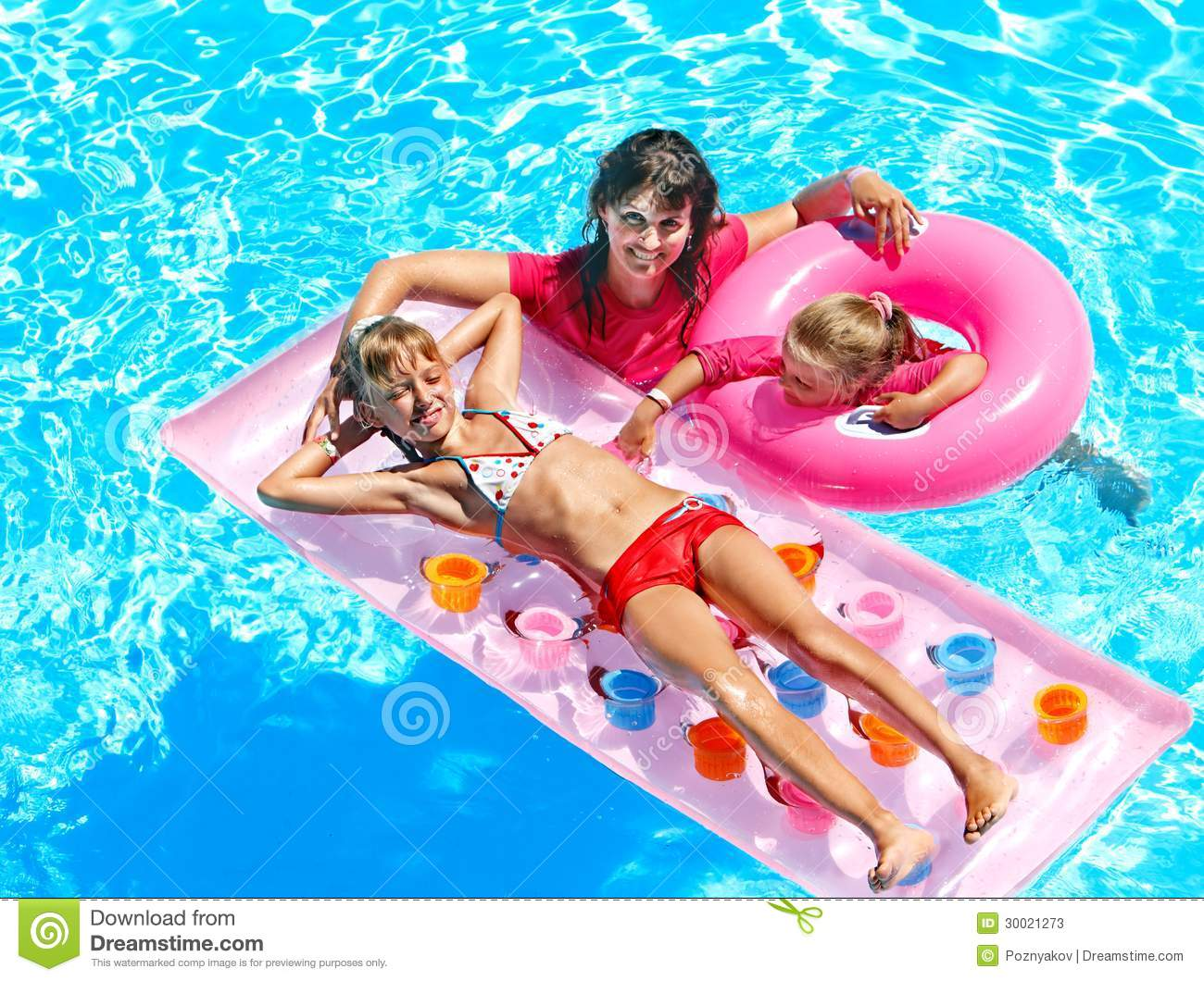 Family in swimming pool stock image image of people for Children s garden pools