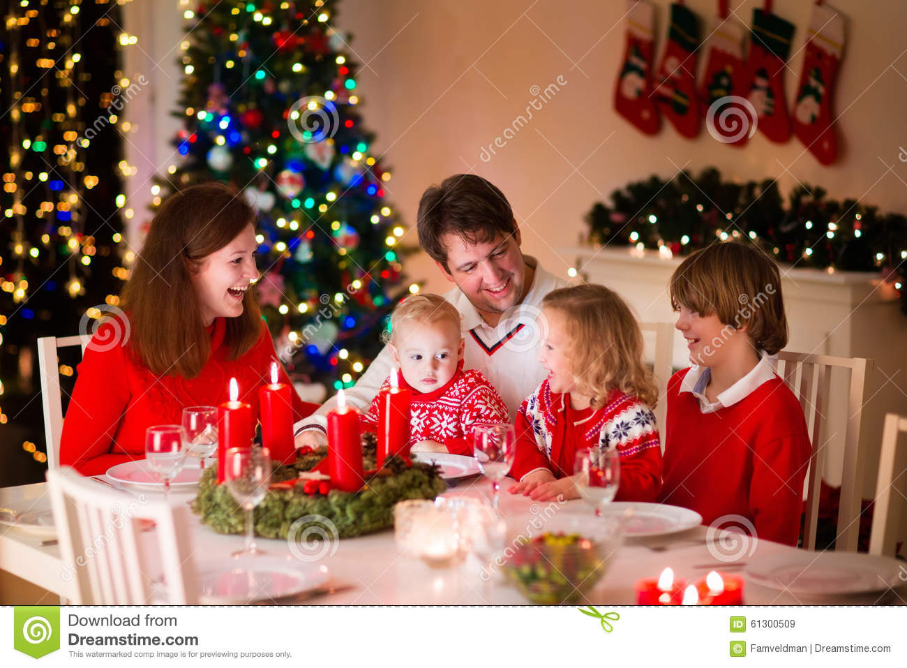 Family at christmas dinner home stock photo image