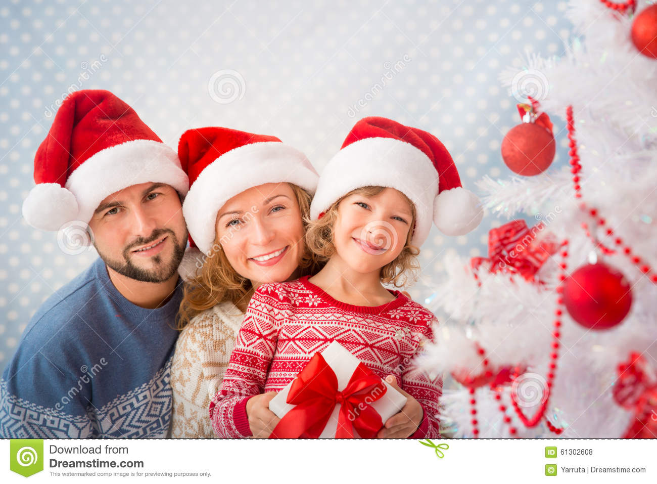Family With Christmas Gifts Stock Photo - Image of congratulations ...