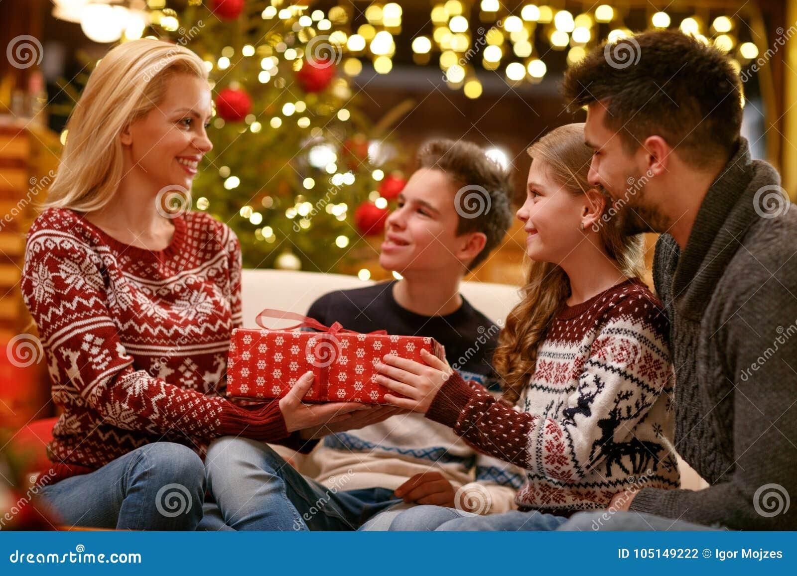 Family Christmas Gift Giving.Family Christmas Giving Gifts Stock Photo Image Of Father