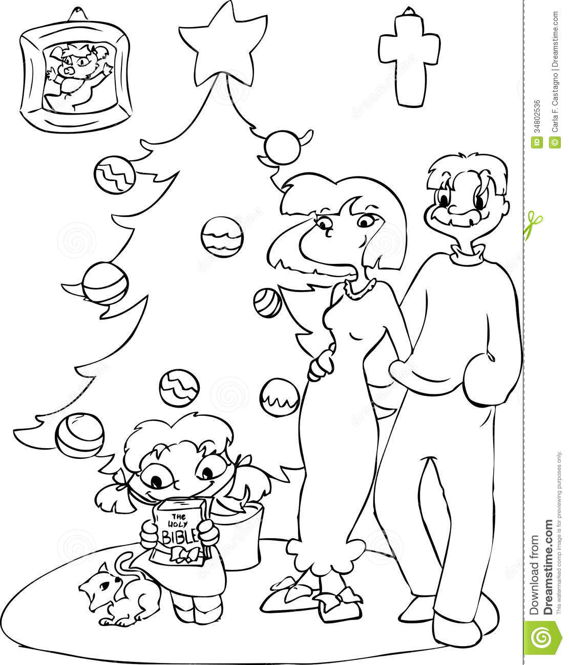 little girl coloring pages not copyrighted | Family With Christmas Tree Coloring Stock Vector ...
