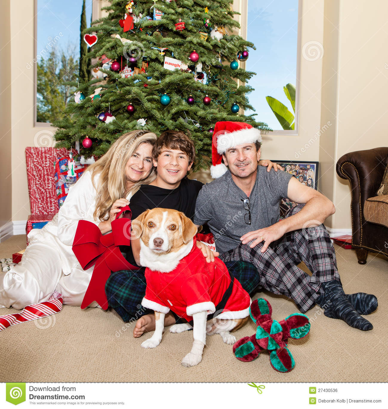 Family Christmas Pajamas With Dog.Family Christmas In Pajamas Stock Photo Image Of Mother