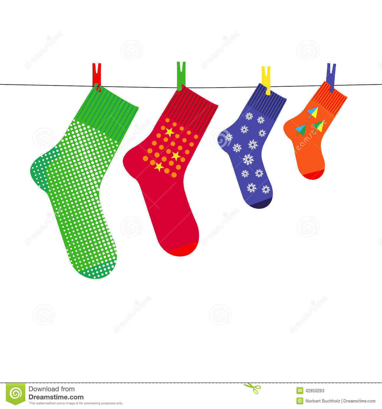Family christmas socks on clothesline with pegs stock vector image