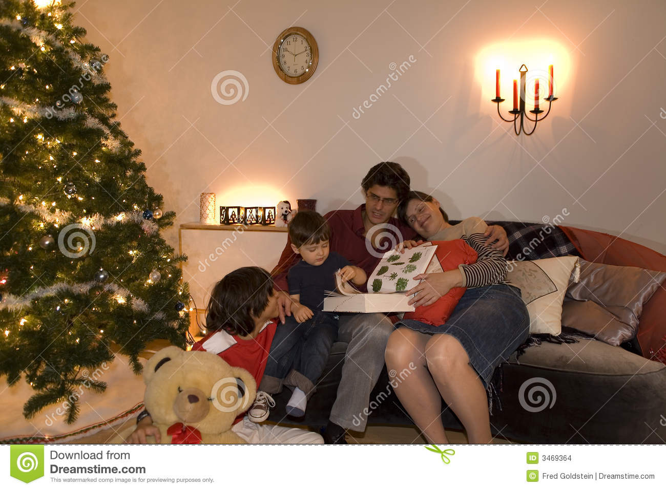 family christmas time stock photo  image of pillow  children