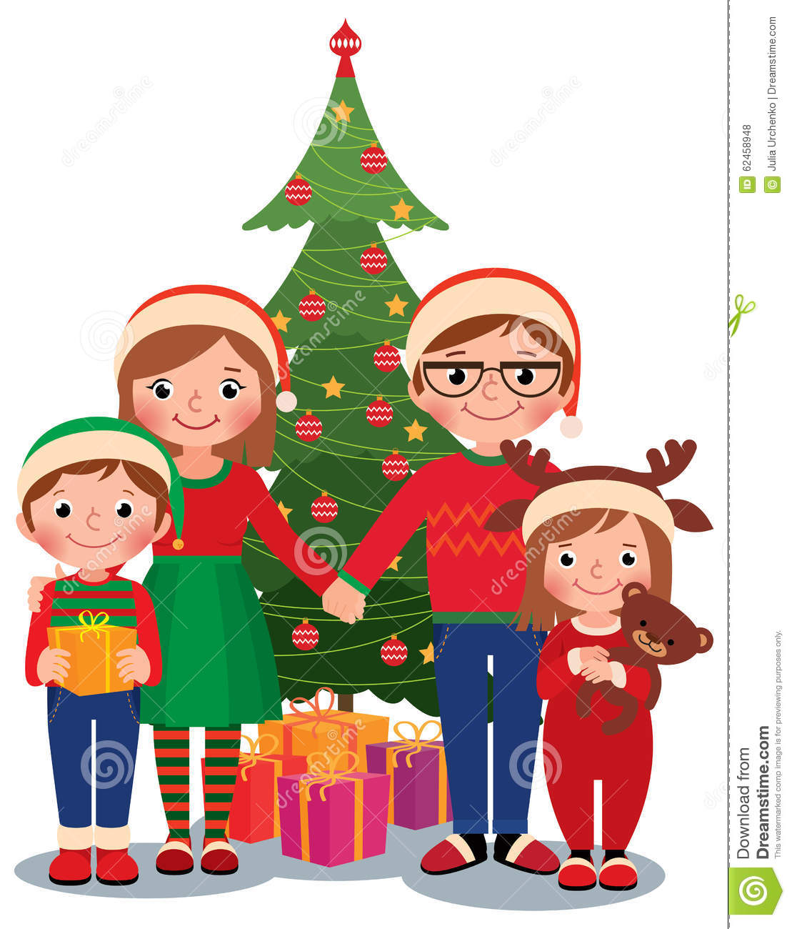 Family At Christmas Tree With Gifts Stock Vector
