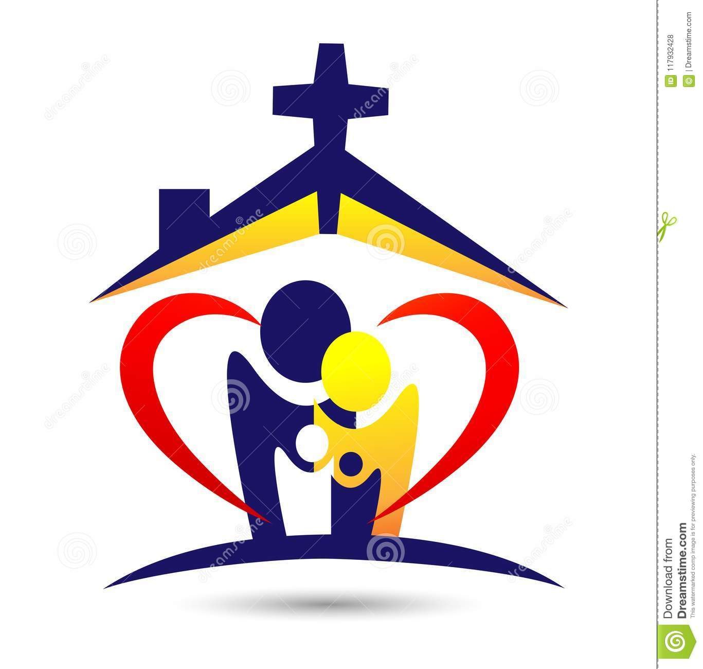 Family church logo,home love, happy, care of church logo on white background