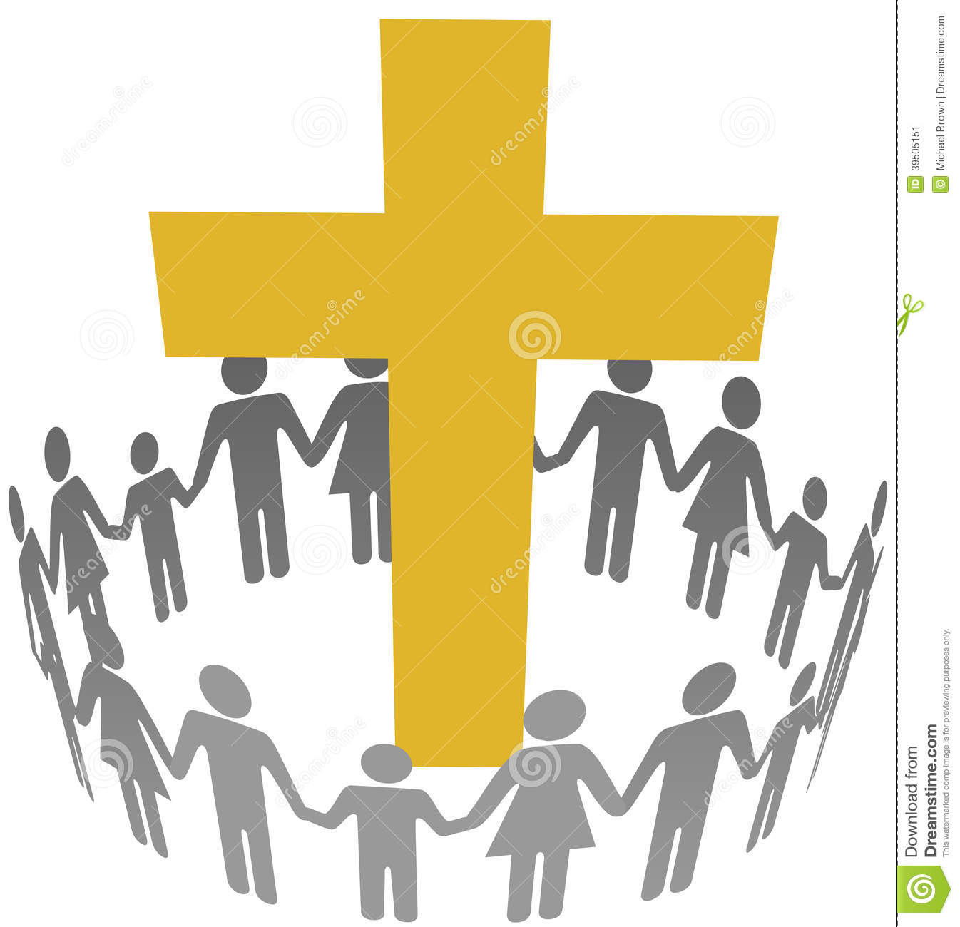 Family Circle Christian Community Cross Stock Vector - Image: 39505151