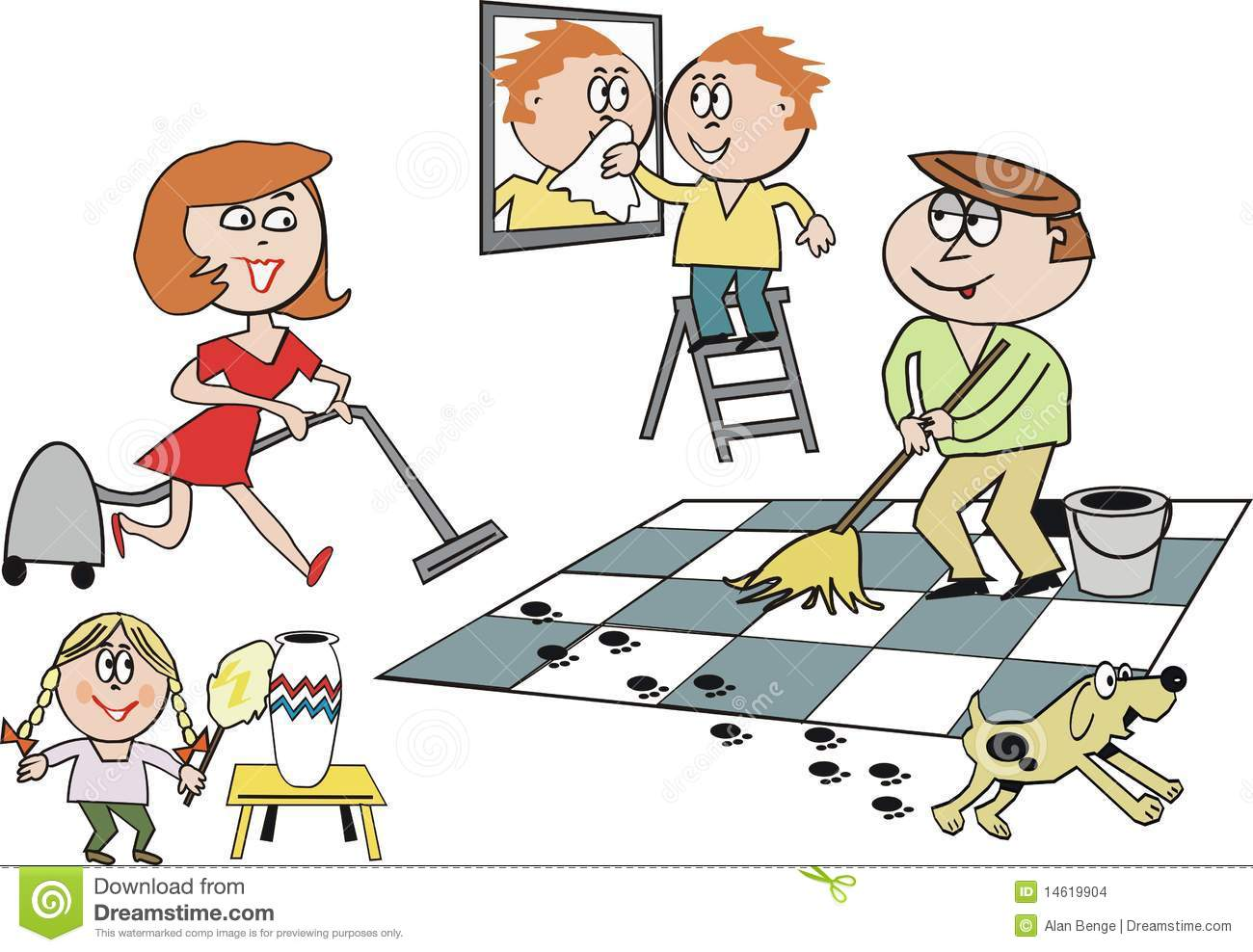 Family Cleaning Cartoon Stock Images - Image: 14619904