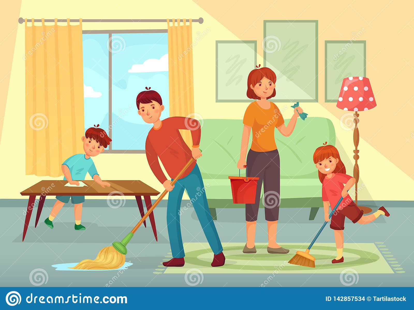 Family cleaning house. Father, mother and kids cleaning living room together housework cartoon vector illustration
