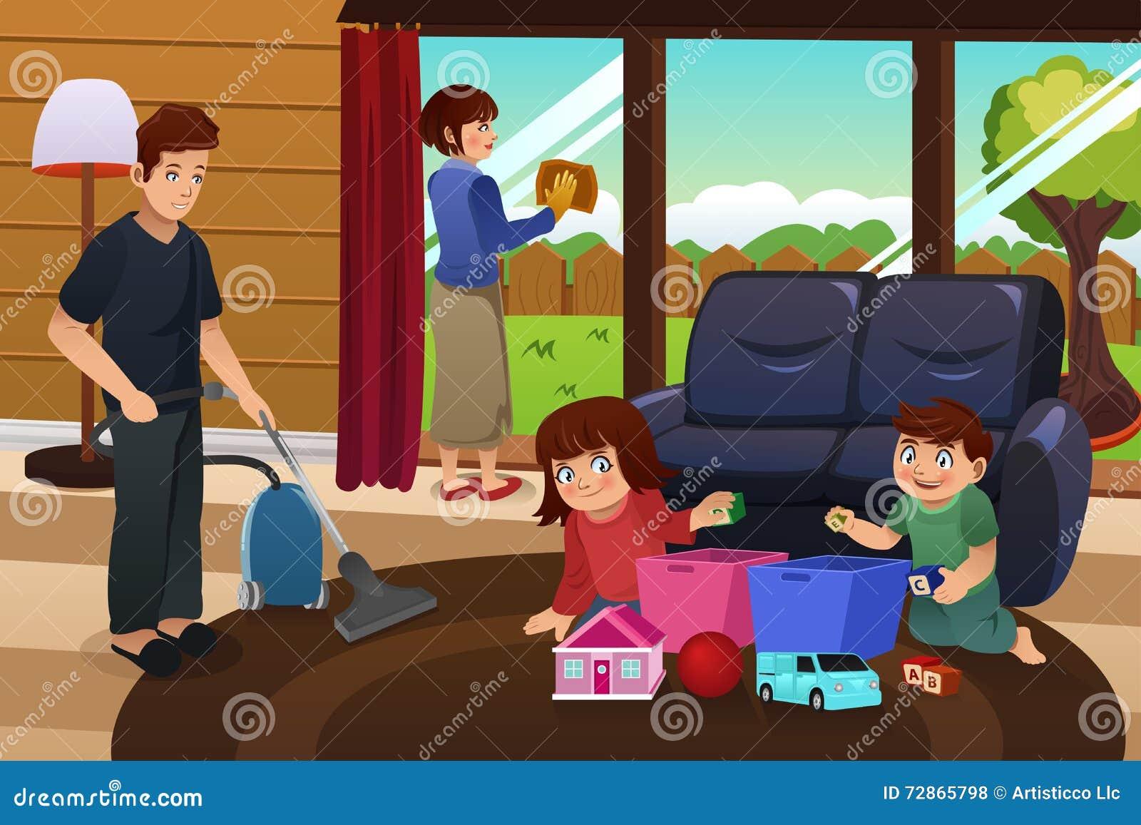 Family cleaning house stock vector illustration of kids - Trabajo limpiando casas ...