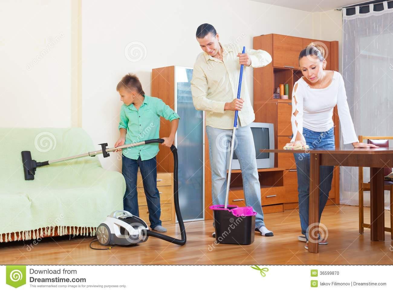 Boy and girl cleaning living room cartoon vector for Family in the living room