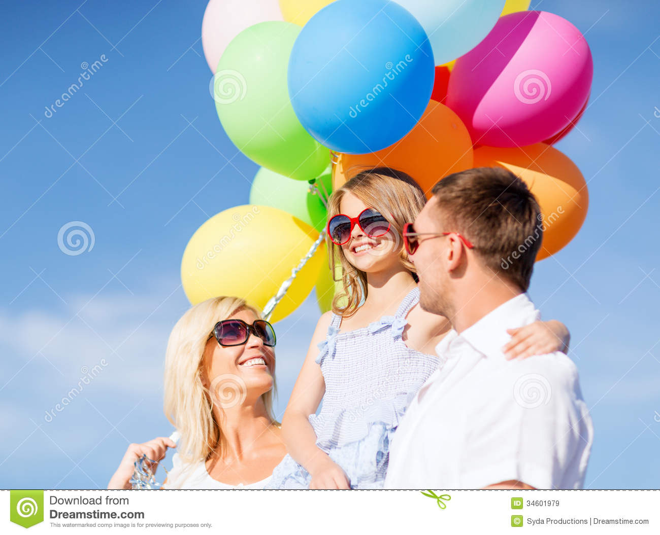 Family With Colorful Balloons Stock Image Image 34601979