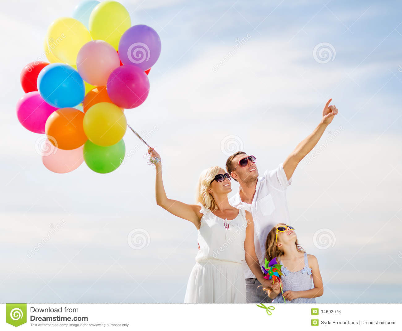 Family With Colorful Balloons Stock Photo - Image of ...