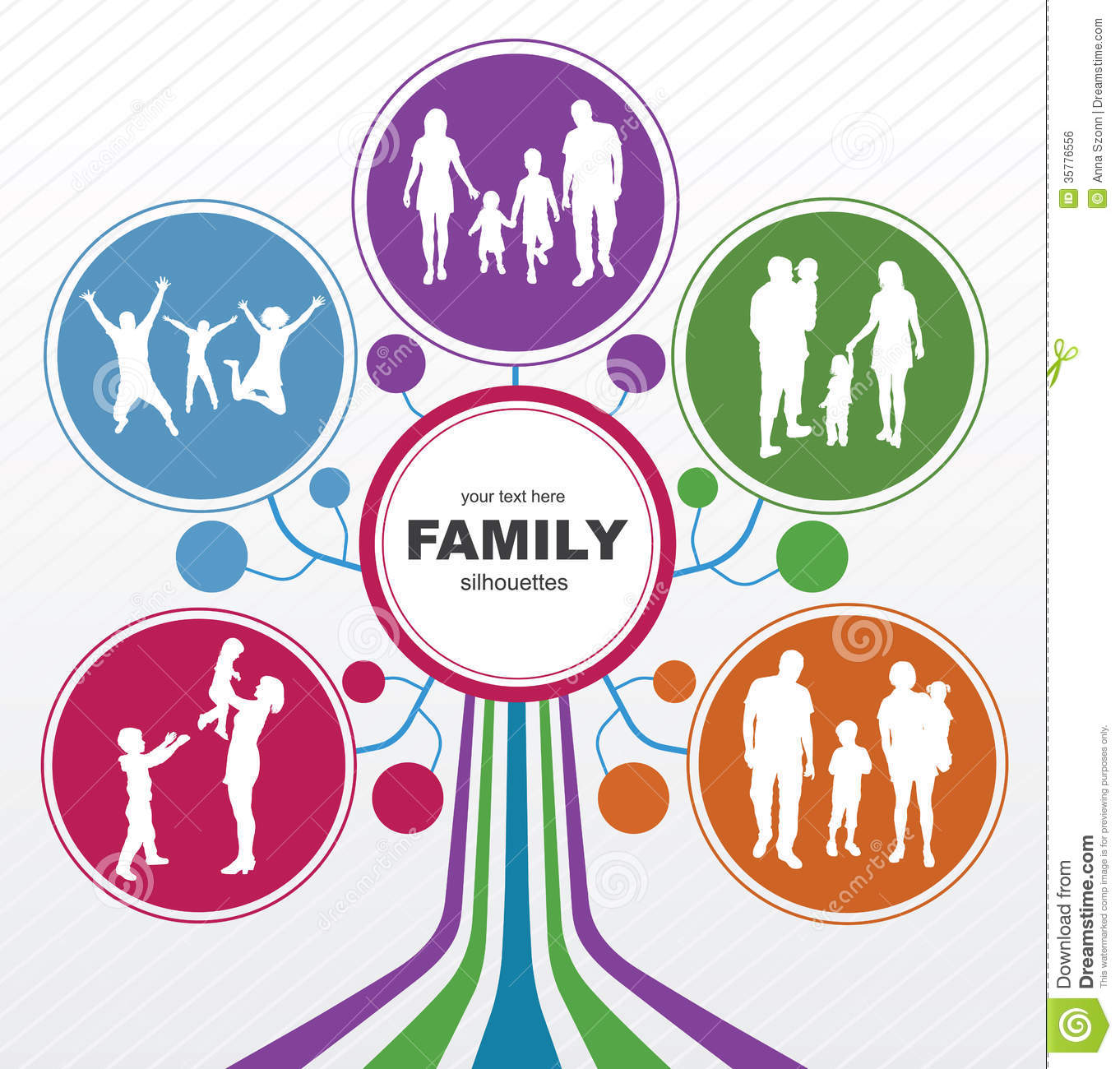 ... : Family concept background. Abstract tree with family silhouettes