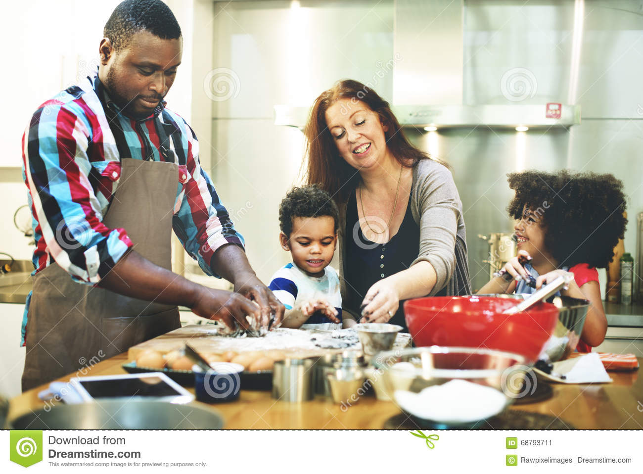 Family cooking kitchen - Family Cooking Kitchen Food Togetherness Concept Stock Photo