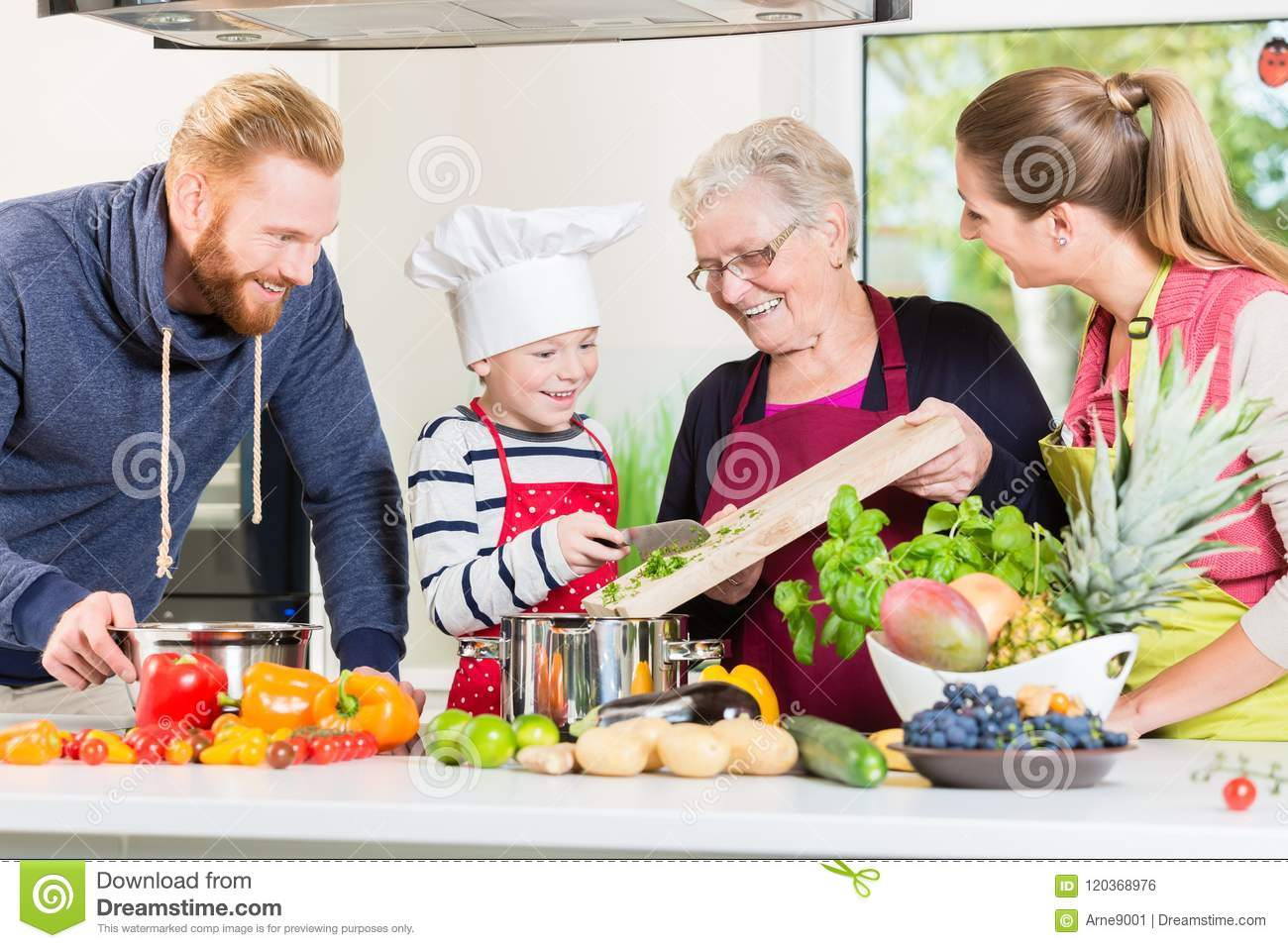 Family cooking in multigenerational household