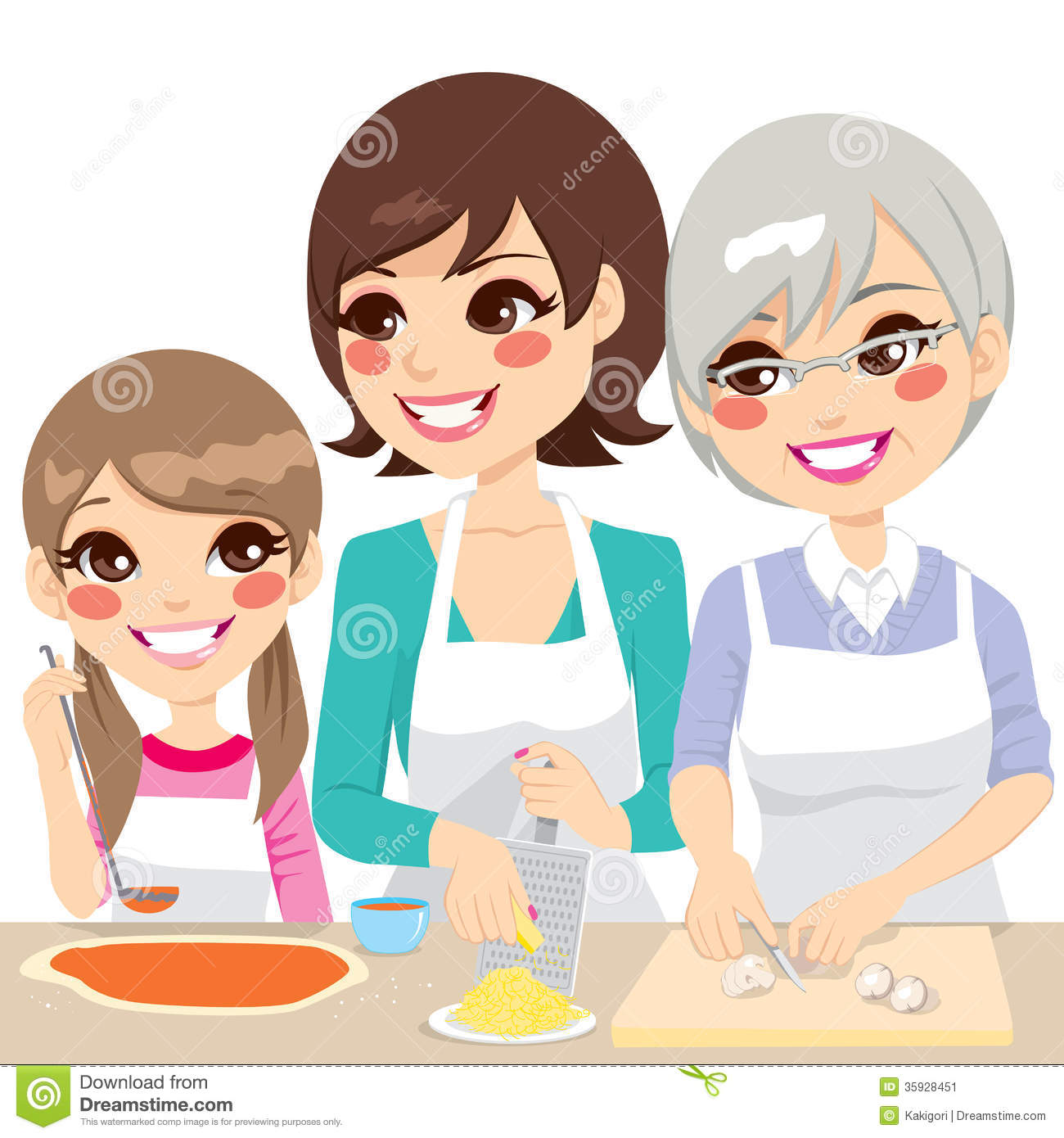 Family Cooking Pizza Together Stock Vector