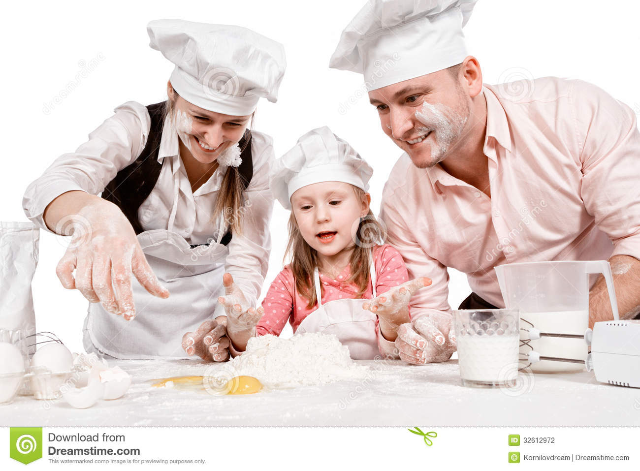 Happy family in kitchen - Family Cooking Together Stock Photography