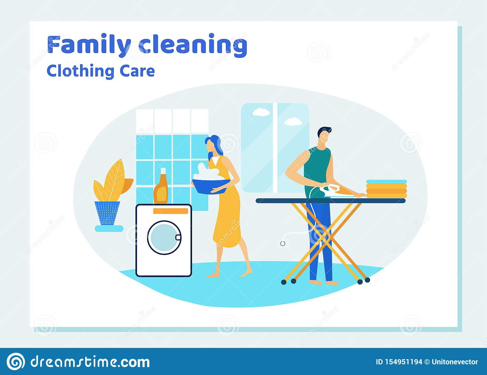 Family Couple Characters Cleaning House on Weekend