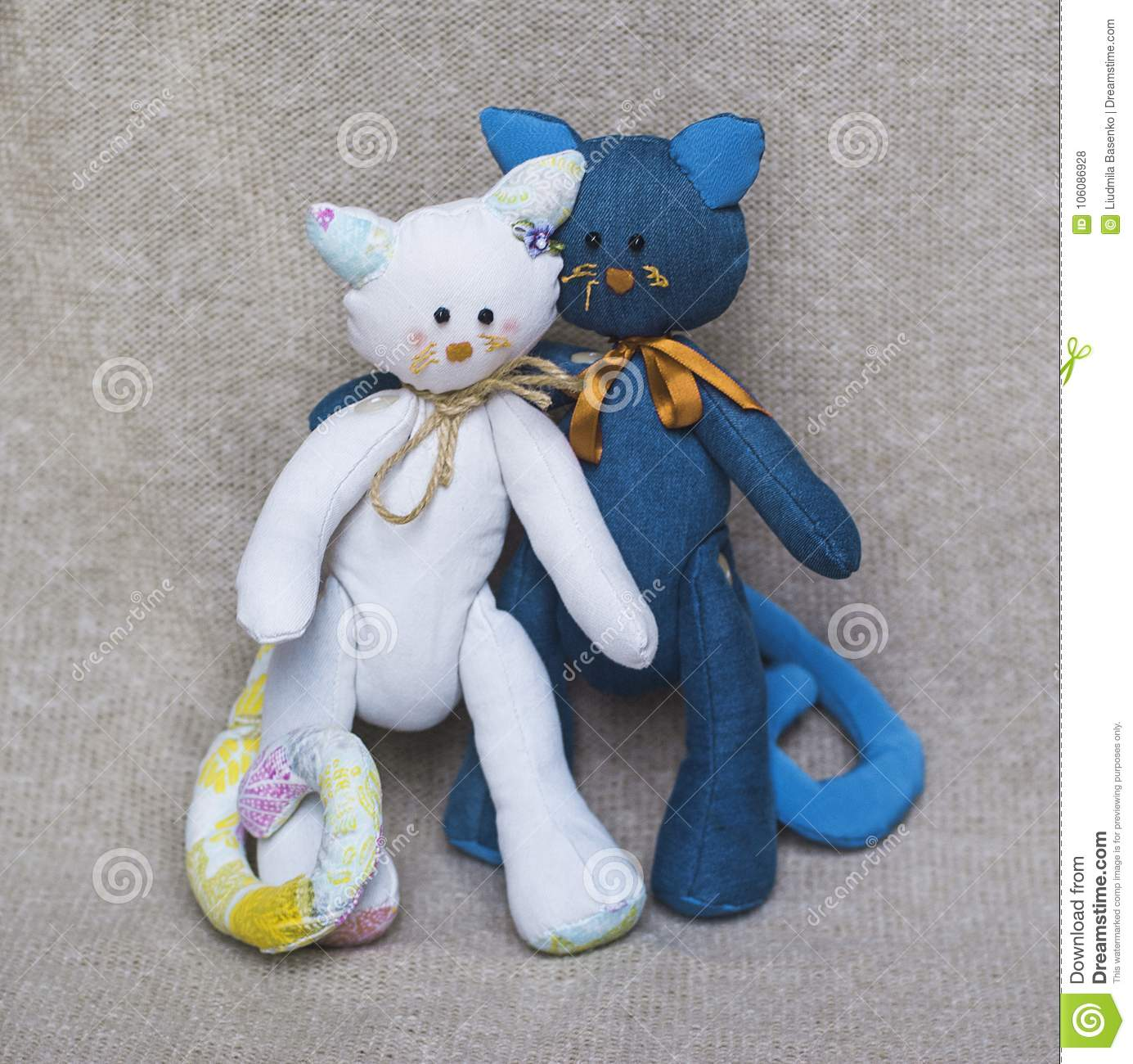Family couple toy cats