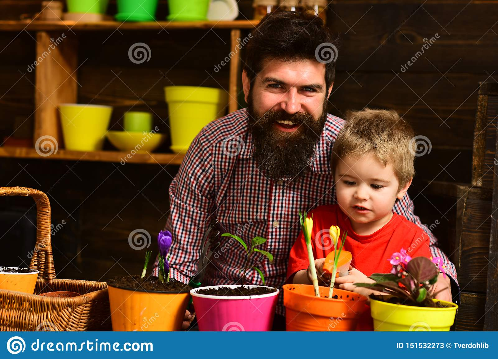 Family day. Greenhouse. bearded man and little boy child love nature. Father and son. Fathers day. happy gardeners with