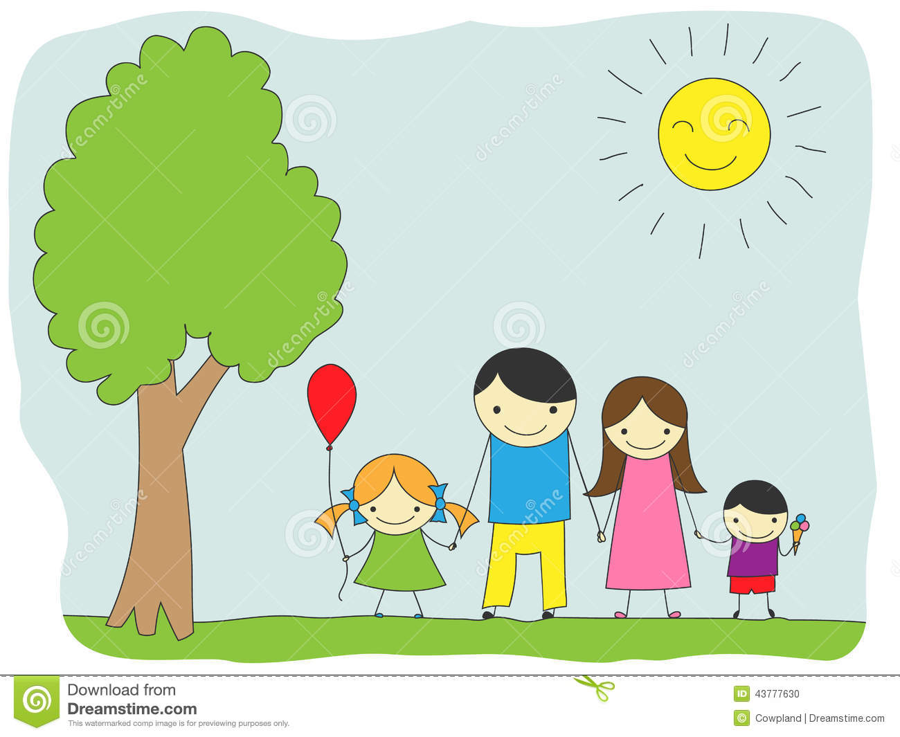 Happy family outing, fun in the sunny day!