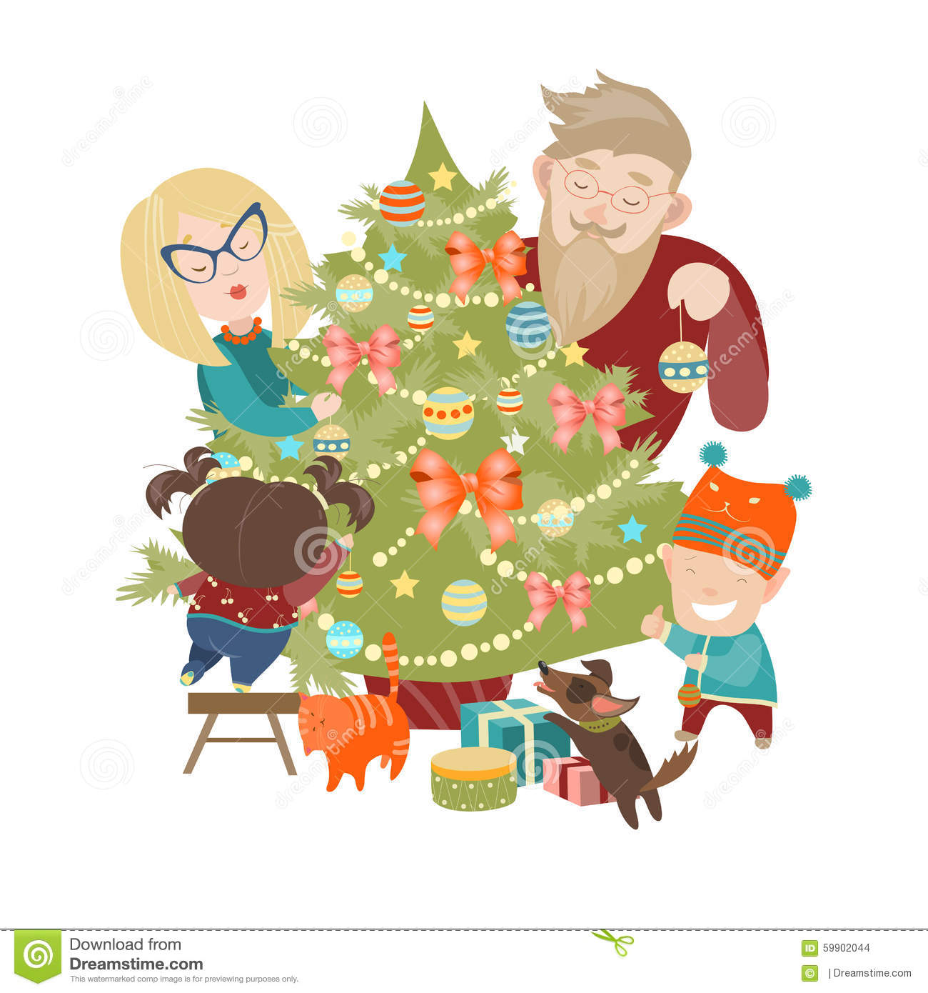 Family Decorating A Christmas Tree Stock Vector Image