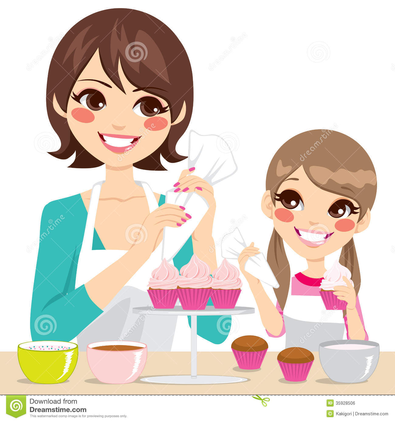 Woman Decorating Cupcakes woman decorating homemade cupcakes with cream royalty free stock