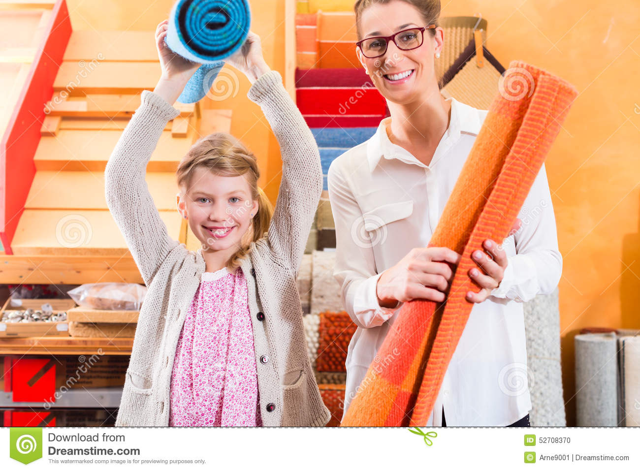 Family designer buying rug or carpeting stock photo for How to buy carpeting