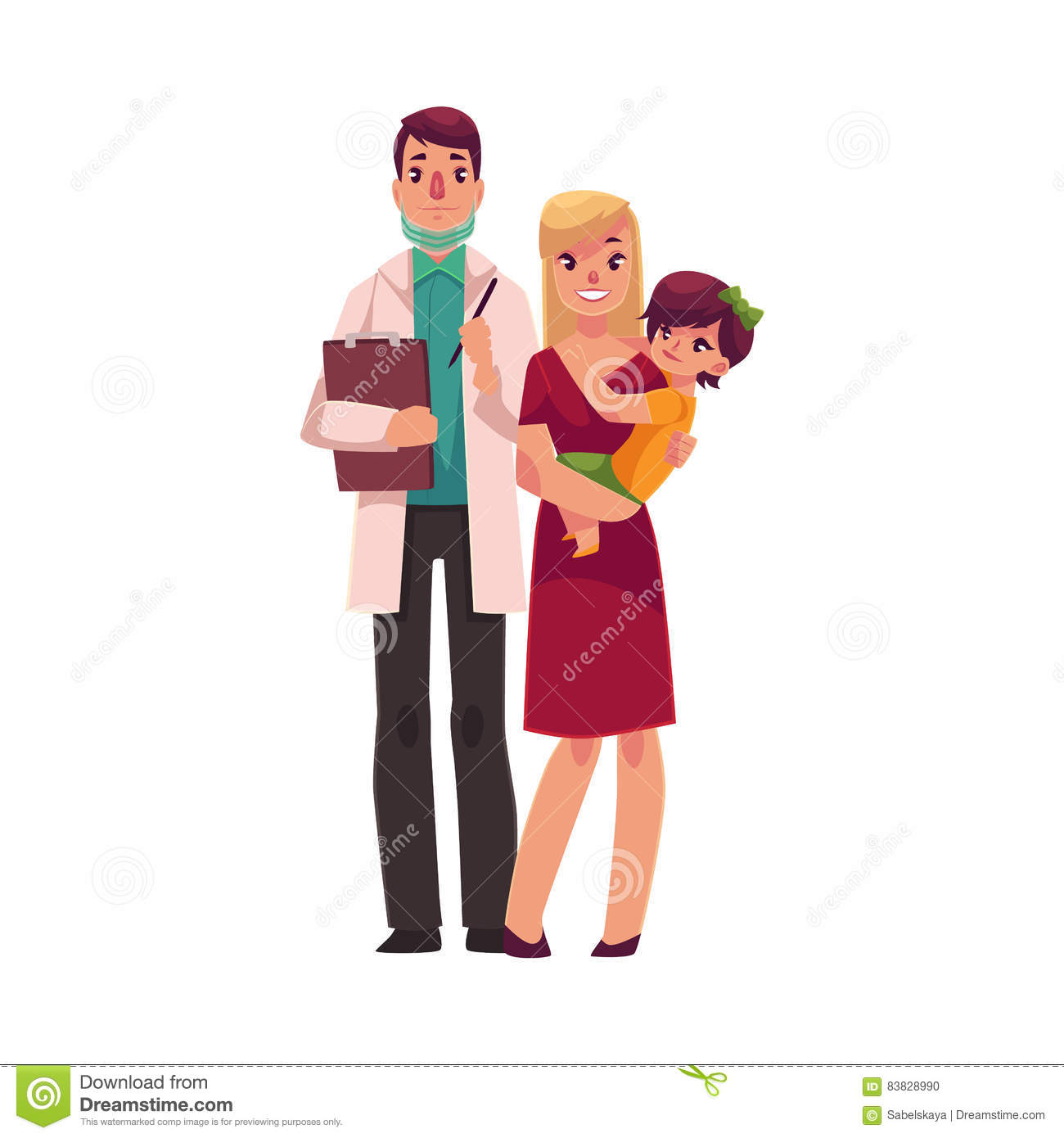 Family Doctor In Lab Coat, Teenage Boy And His Mother