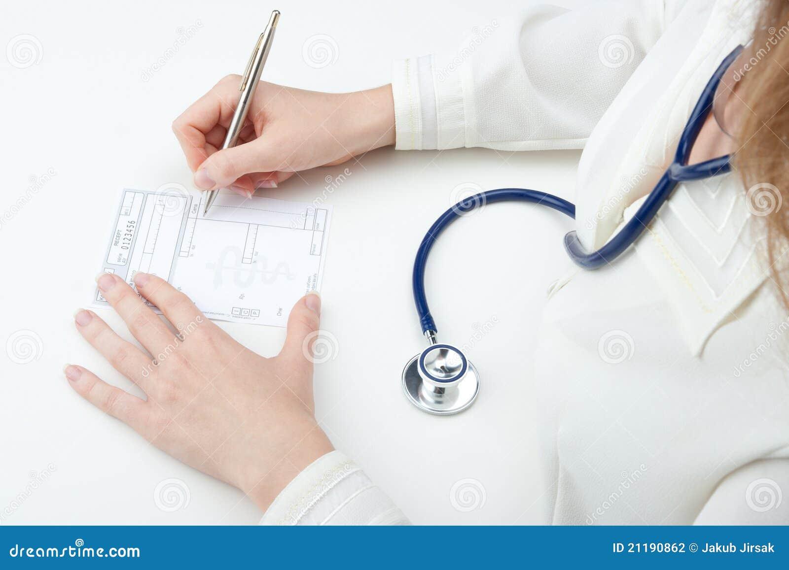 Family doctor write prescription (recipe)