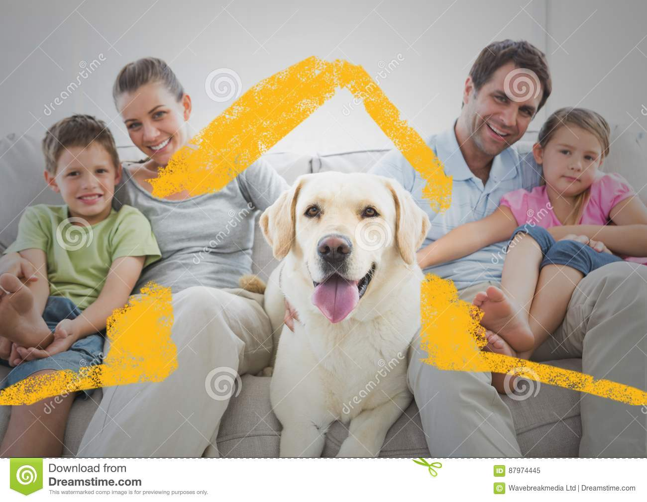 Family And Dog Sitting On A Couch At Home Against House Outline In