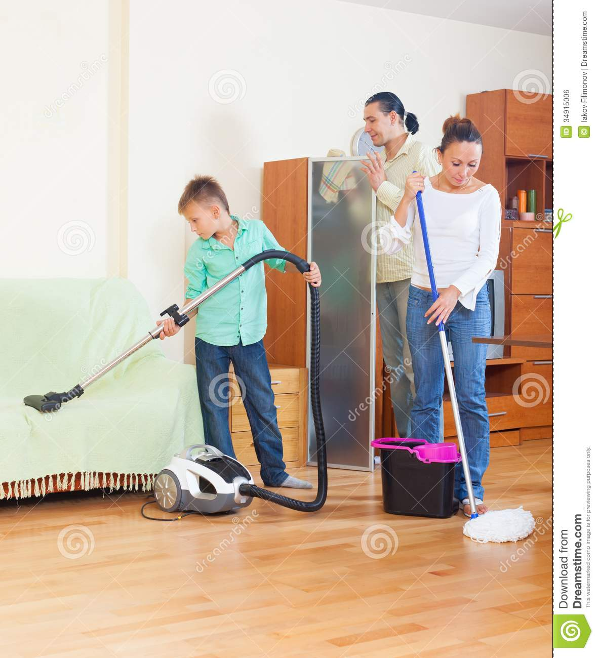 Cleaning The House family doing house cleaning royalty free stock image - image: 34915006