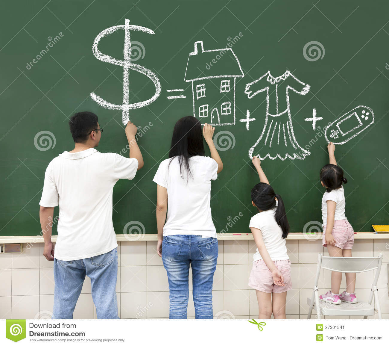 Family drawing money house clothes and video game stock for Money in design home game