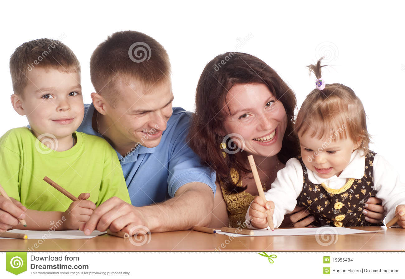 Family drawing at table