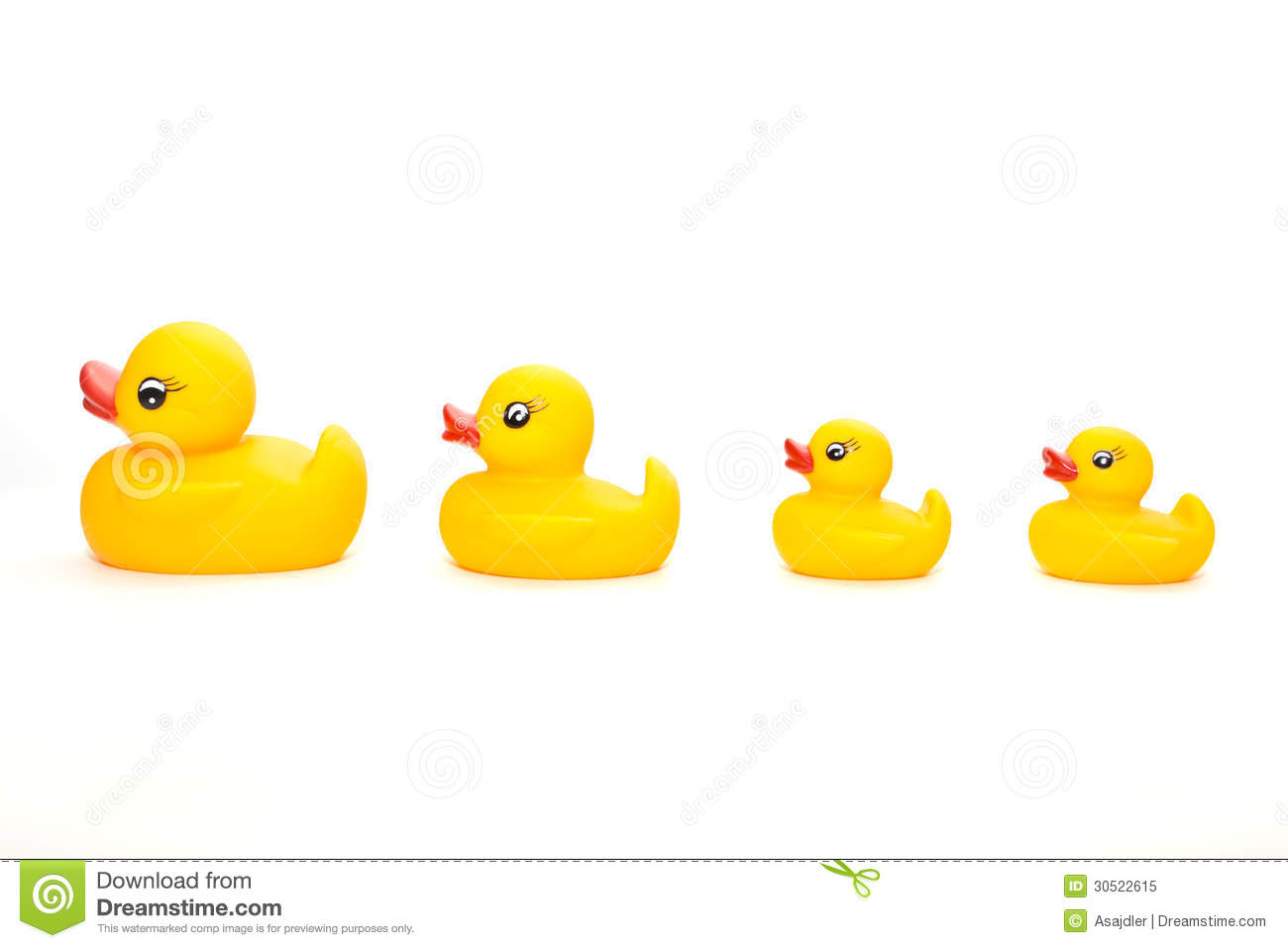 Four yellow rubber ducks in a line four yellow rubber ducks in a line