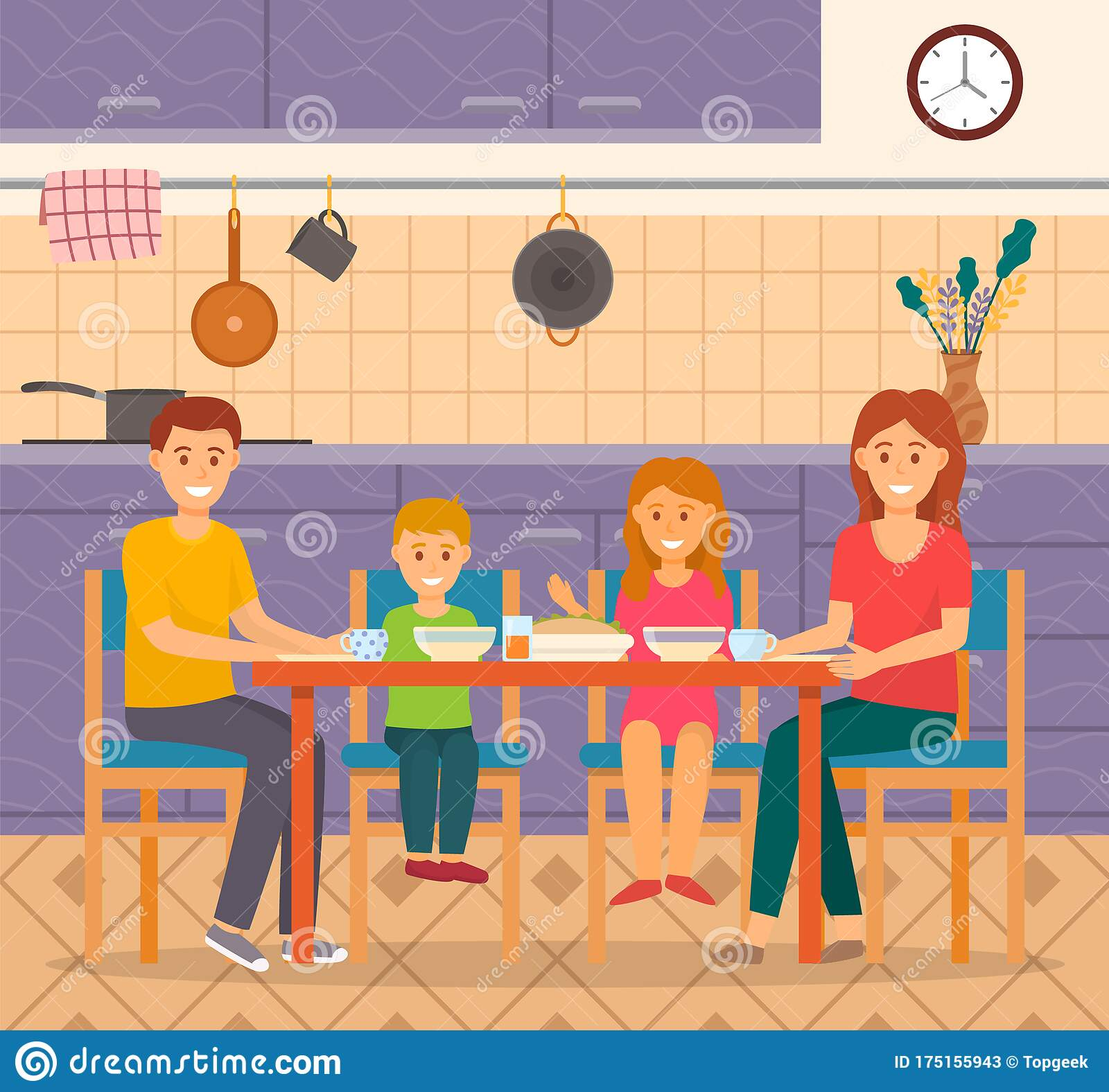 Family Eat Dinner Together At Home Healthy Food Stock Vector Illustration Of Cartoon Lunch 175155943