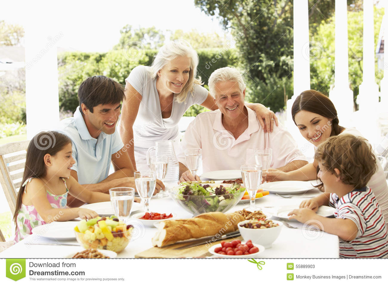 Family Eating Outside Family Eating Lunch Ou...