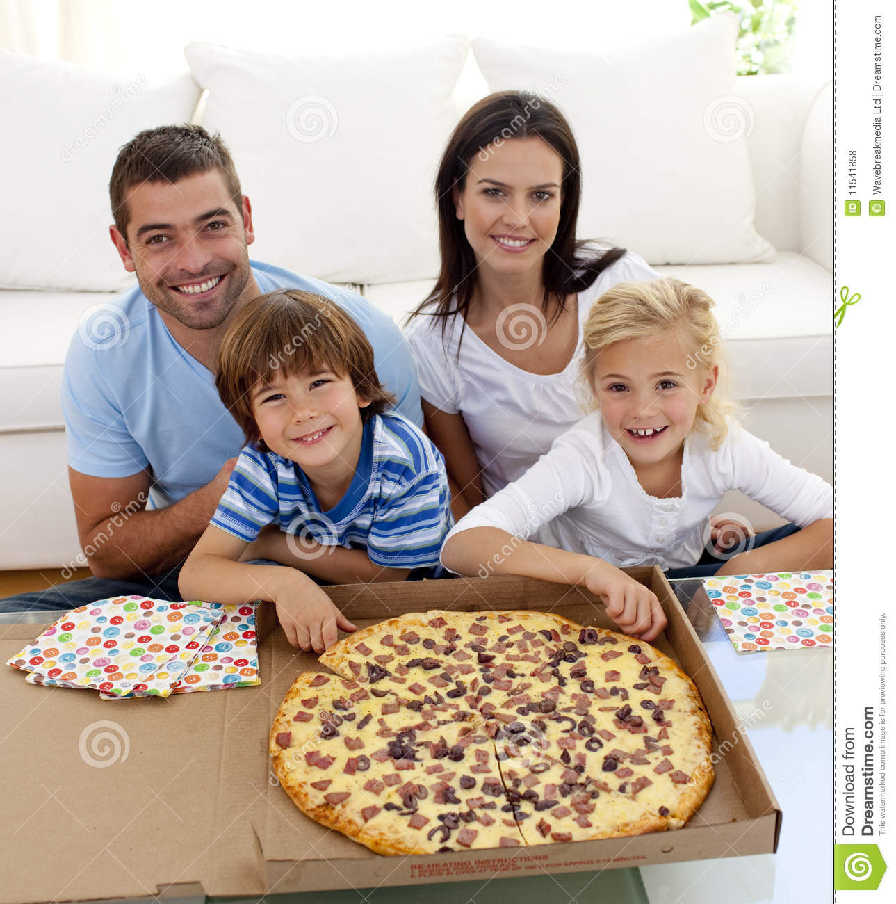 family eating pizza on sofa stock photo image of colour indoors 11541858. Black Bedroom Furniture Sets. Home Design Ideas
